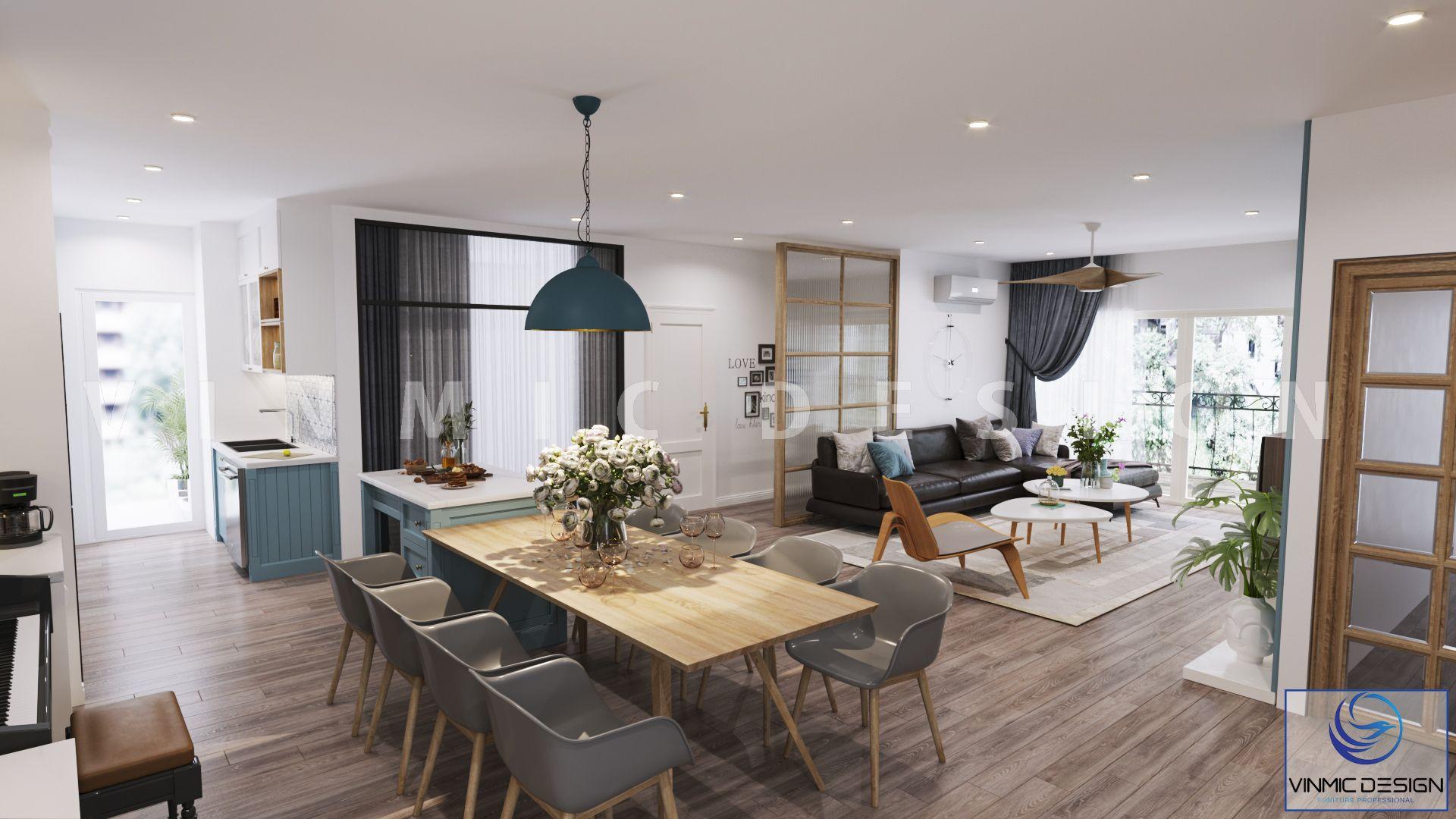 Thiết kế nội thất phòng khách chung cư rộng rãi và rất đơn giản