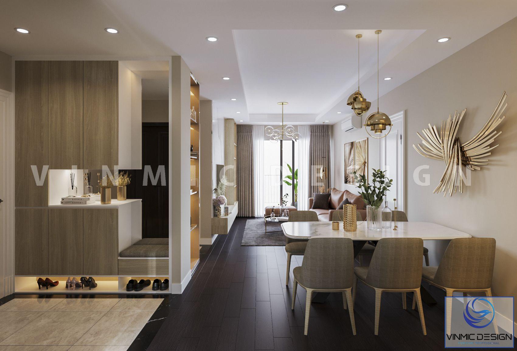 Thiết kế nội thất phòng khách được sử dụng chủ yếu bằng chất gỗ công nghiệp