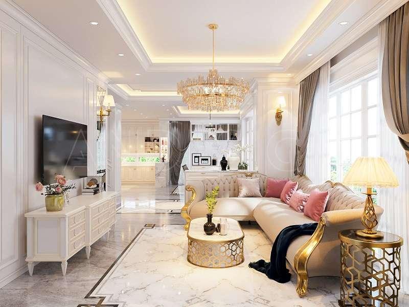 Tông màu phòng khách kết hợp ánh sáng tự nhiên tạo nên phòng khách ấn tượng