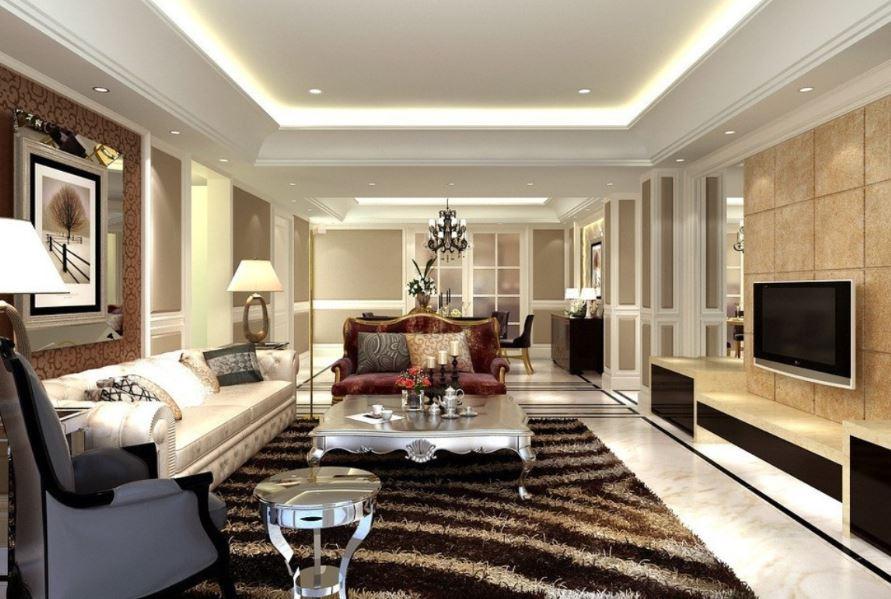 Đường nét thiết kế đơn giản với bộ giấy gián tường nổi bật lên phòng khách