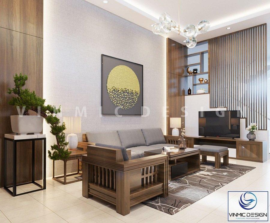 Thiết kế phòng khách biệt thự tầng 1 với bộ bàn ghế chất gỗ sồi Nga