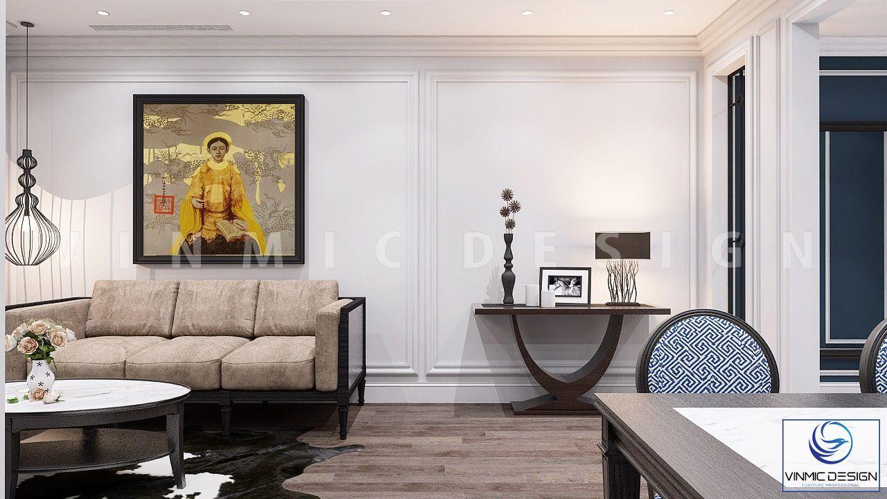 Phòng khách với diện tích hẹp được thể hiện đơn giản