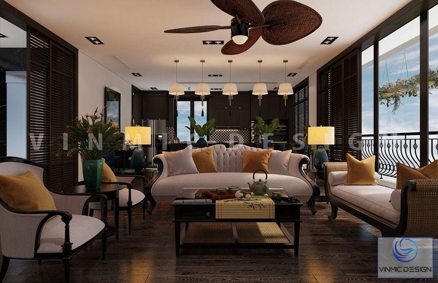Phòng khách được thiết kế phong cách indochine ấn tượng
