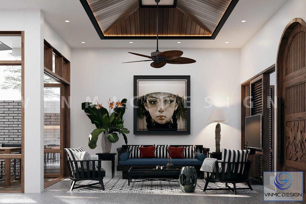 Bức tranh ấn tượng tạo nên không gian phòng khách đậm chất indochine
