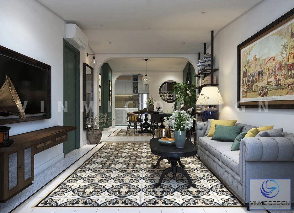 Thiết kế phòng khách indochine với tông màu trầm