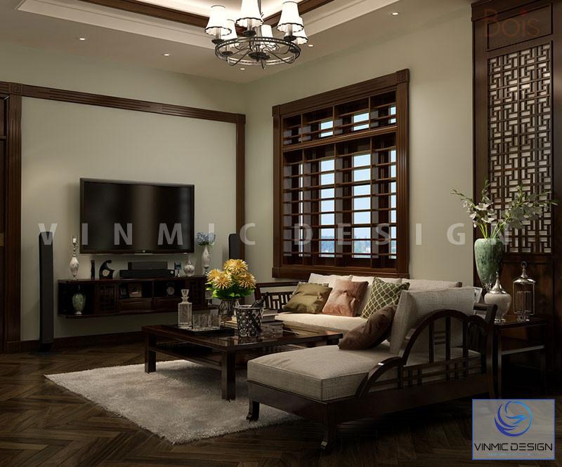 Chất gỗ tự nhiên được sử dụng cho phòng khách này