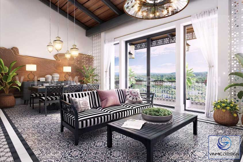 Những bộ bàn ghế bằng gỗ tự nhiên ấn tượng, nổi bật lên không gian phòng khách