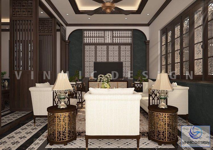 Thiết kế phòng khách indochine với các vách gỗ cách điệu