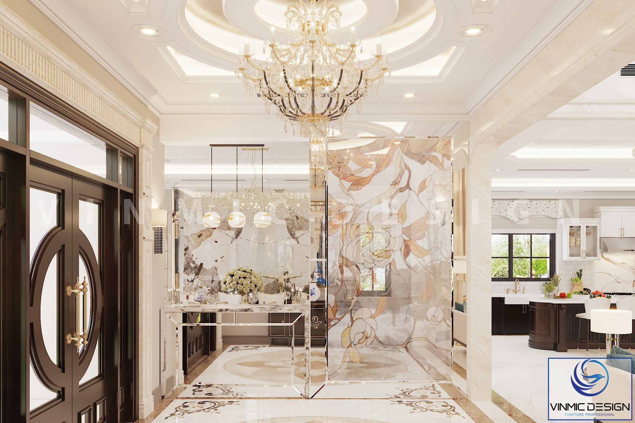 Sảnh được thiết kế mang vẻ đẹp tráng lệ tại căn biệt thự Vinhomes Imperia Hải Phòng