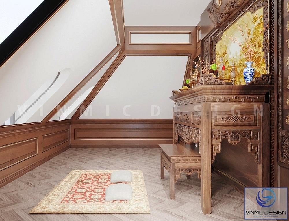 Phòng thờ có bàn thờ chiện sen đẹp tại biệt thự Vinhomes Imperia Hải Phòng