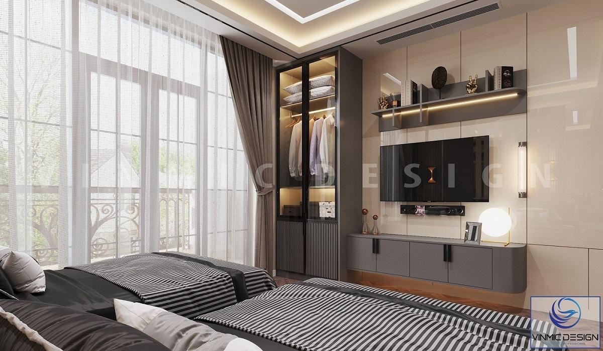 Thiết kế nội thất phòng ngủ cho khách tiện nghi, hiện đại tại biệt thự Vinhomes Imperia Hải Phòng