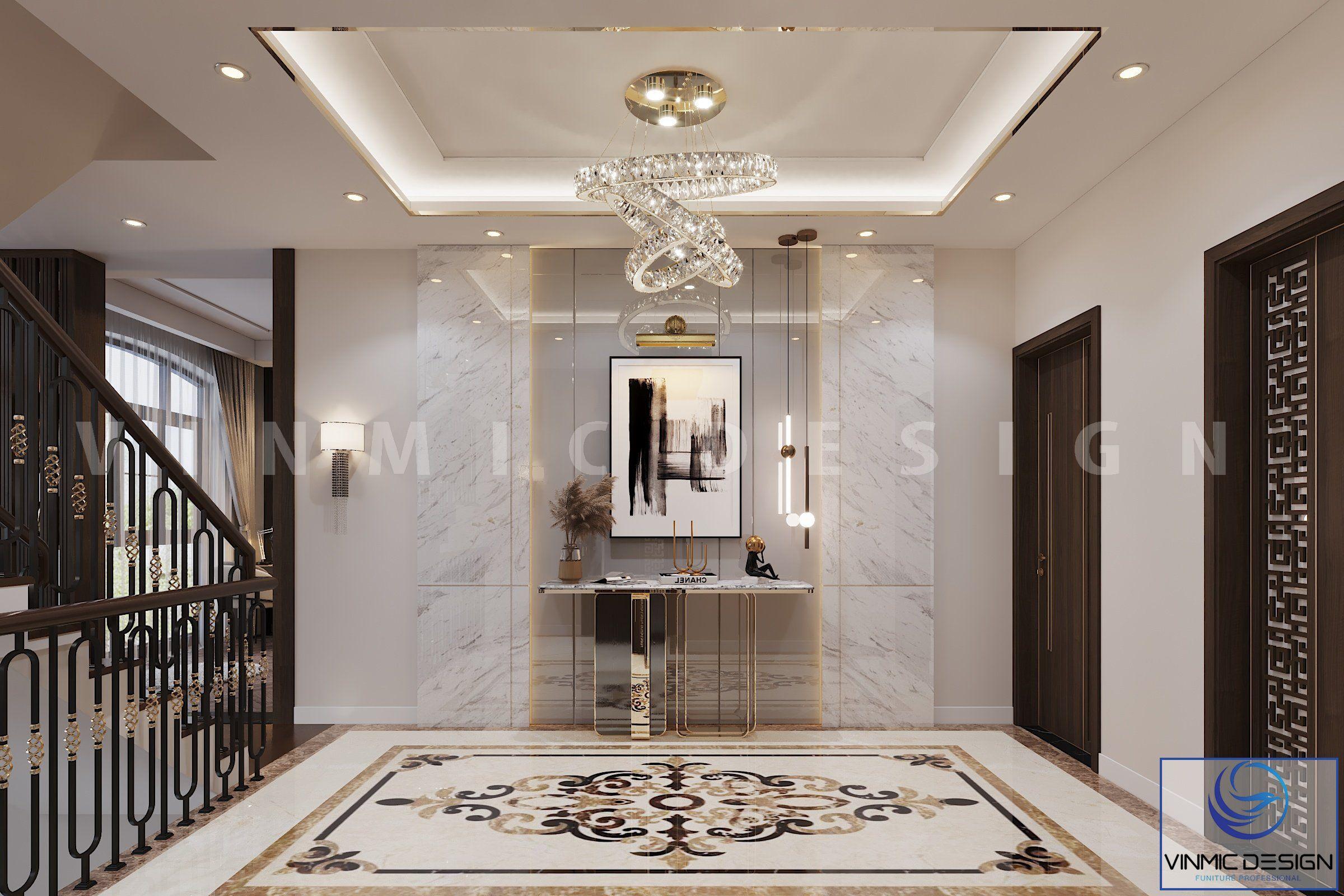 Thiết kế sảnh tầng 3 sang trọng tại biệt thự Vinhomes Imperia Hải Phòng