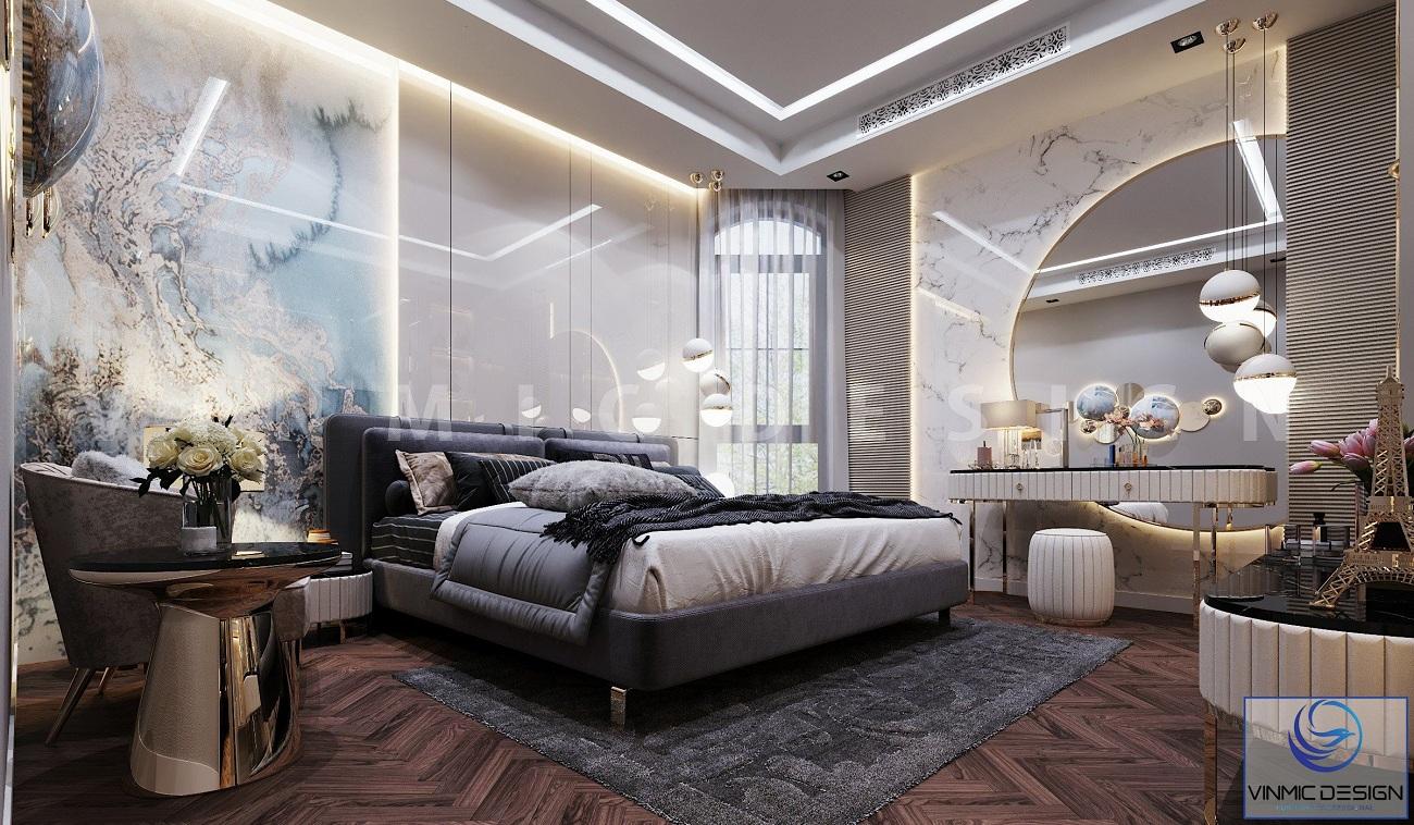 Thiết kế nội thất phòng ngủ master tinh tế tại căn biệt thự Vinhomes Imperia Hải Phòng