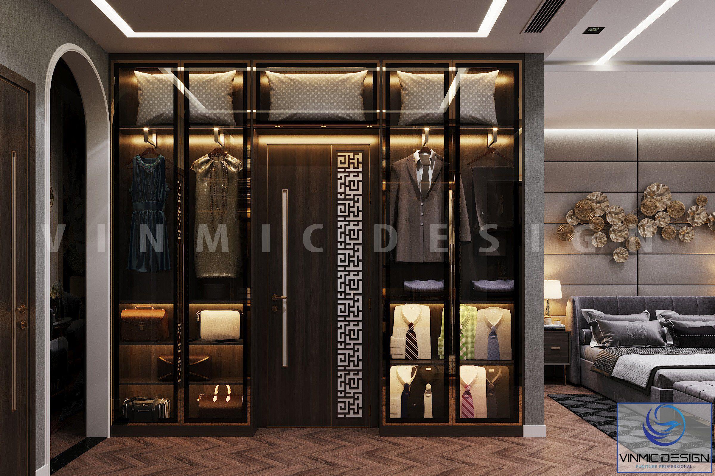 Tủ quần áo được thiết kế hiện đại cho phòng ngủ biệt thự Vinhomes Imperia Hải Phòng