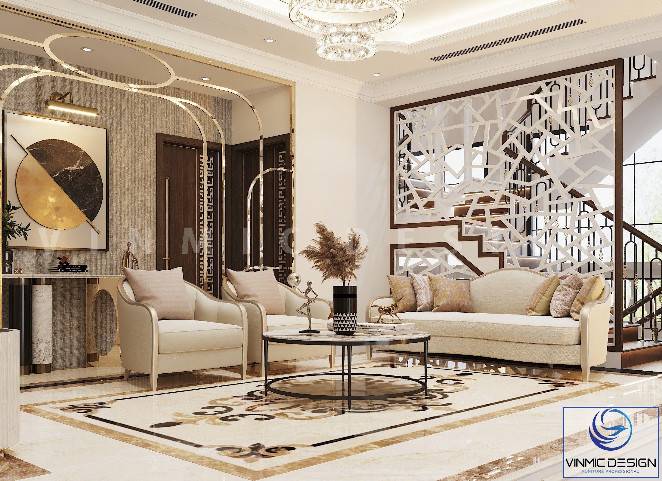 Bộ bàn ghế sofa đẹp tại phòng chờ sảnh tầng 2 căn biệt thự Vinhomes Imperia Hải Phòng