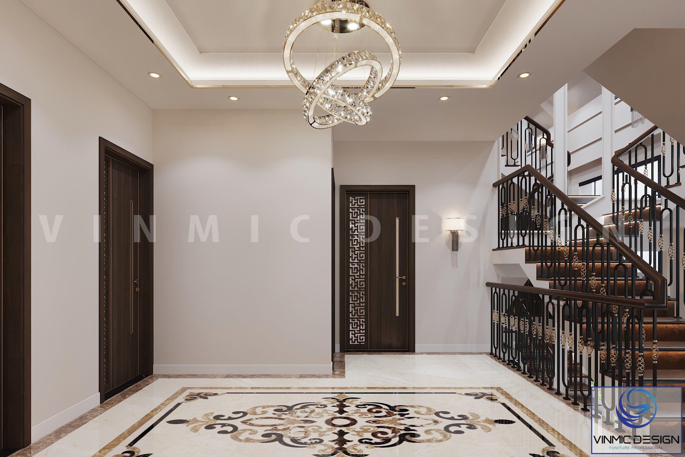 Thiết kế cầu thang và cửa phòng ấn tượng tại biệt thự Vinhomes Imperia Hải Phòng