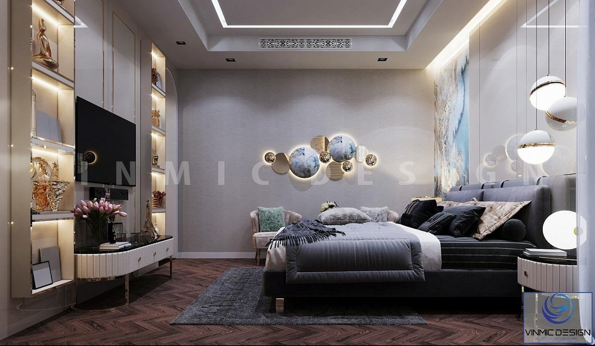 Thiết kế nội thất phòng ngủ master đẹp cho căn nhà biệt thự Vinhomes Imperia Hải Phòng