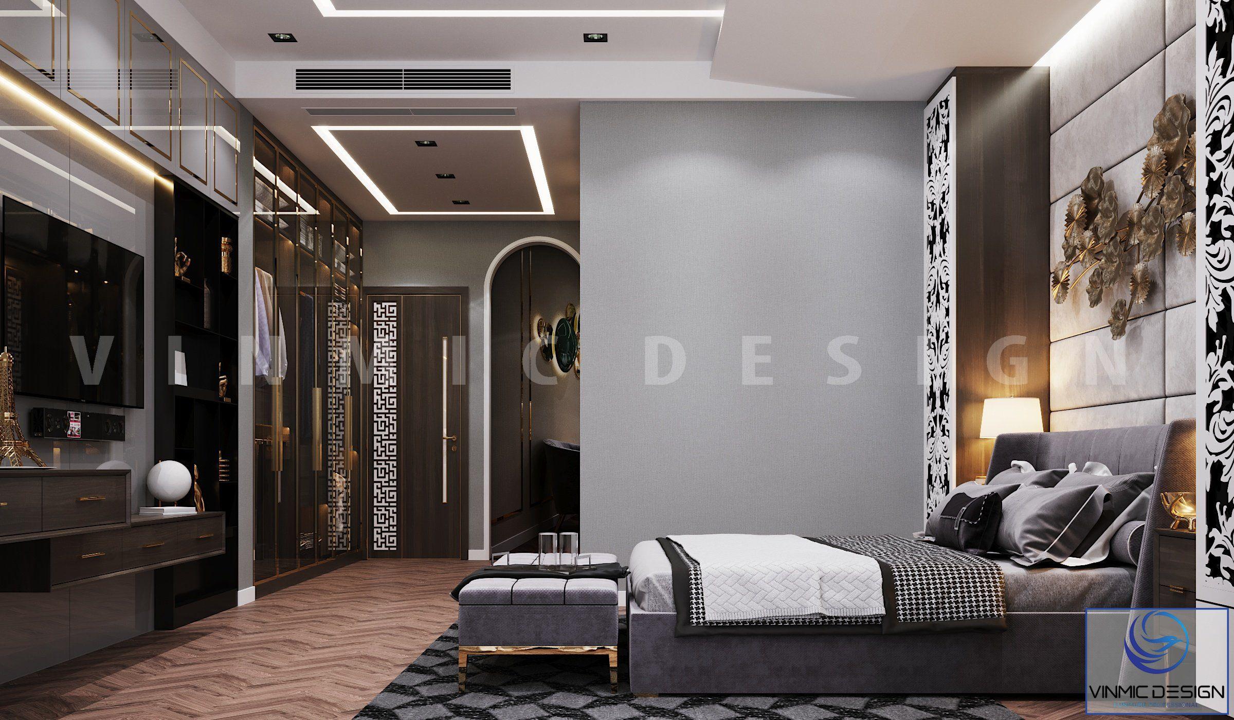 Không gian rộng thoáng trong thiết kế phòng ngủ biệt thự Vinhomes Imperia Hải Phòng