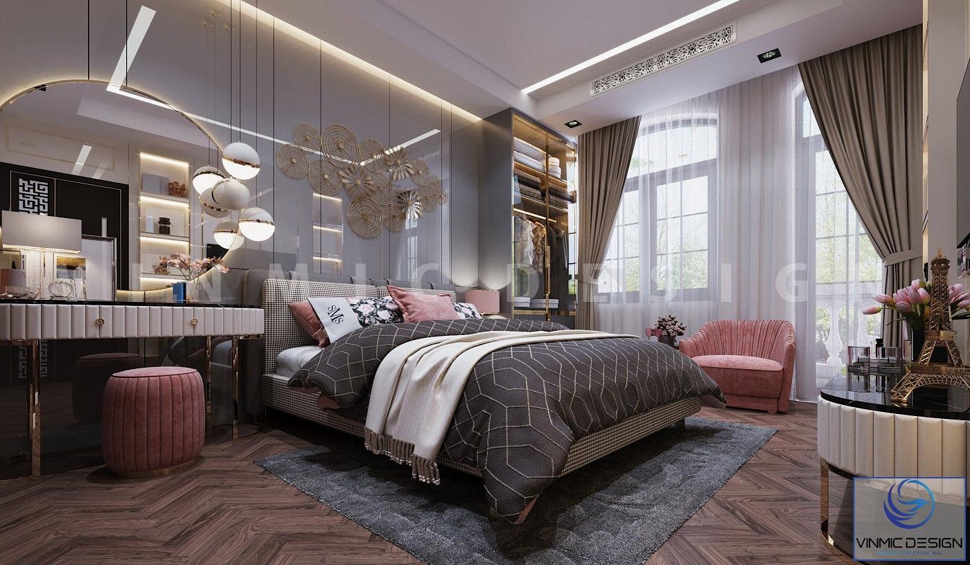 Thiết kế nội thất phòng ngủ bé gái sang trọng tại biệt thự Vinhomes Imperia Hải Phòng