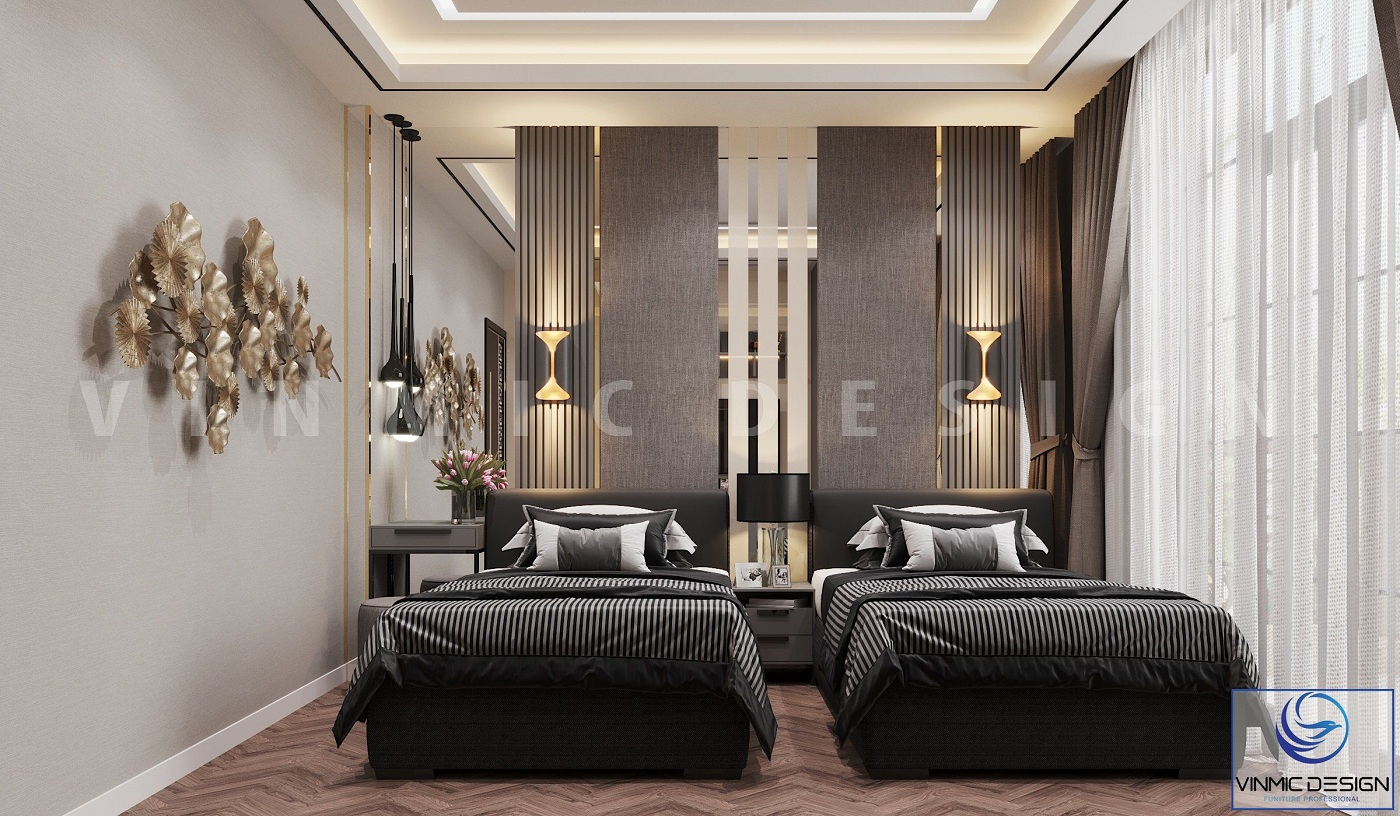 Thiết kế nội thất phòng ngủ cho khách sang trọng tại biệt thự Vinhomes Imperia Hải Phòng