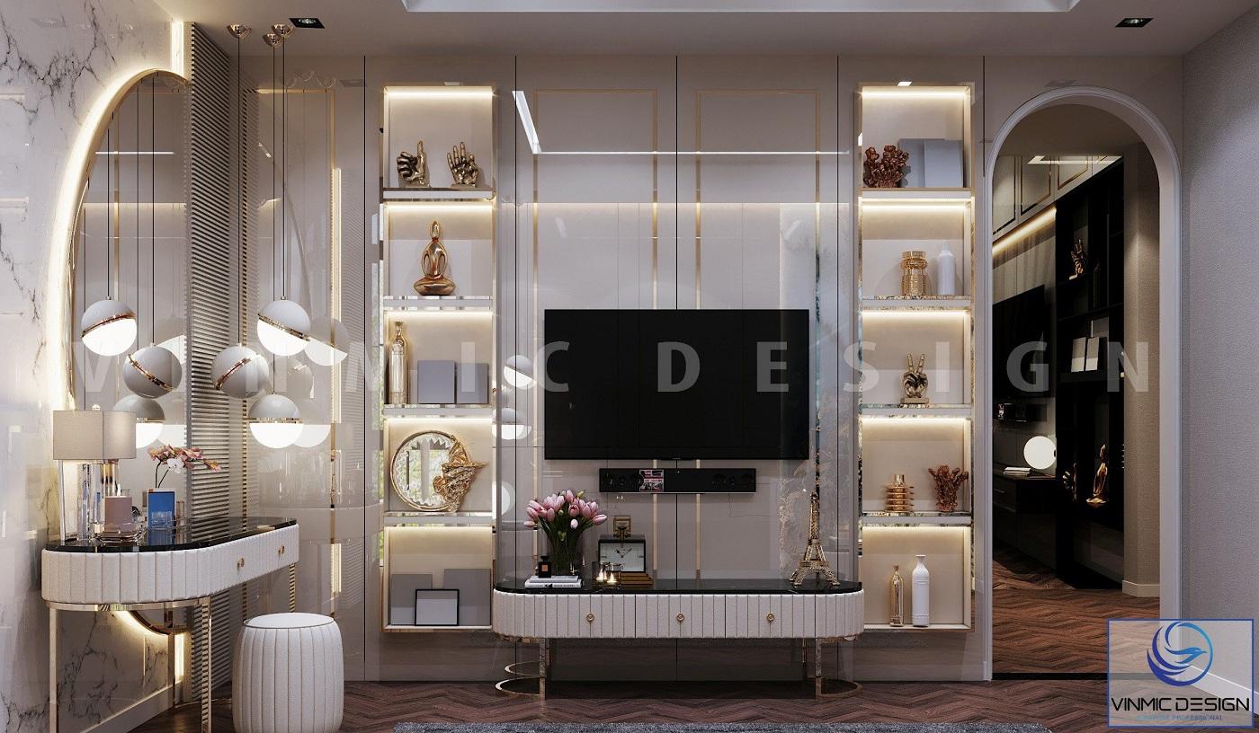 Tủ trang trí ấn tượng, sang trọng trong thiết kế nội thất phòng ngủ master biệt thự Vinhomes Imperia Hải Phòng