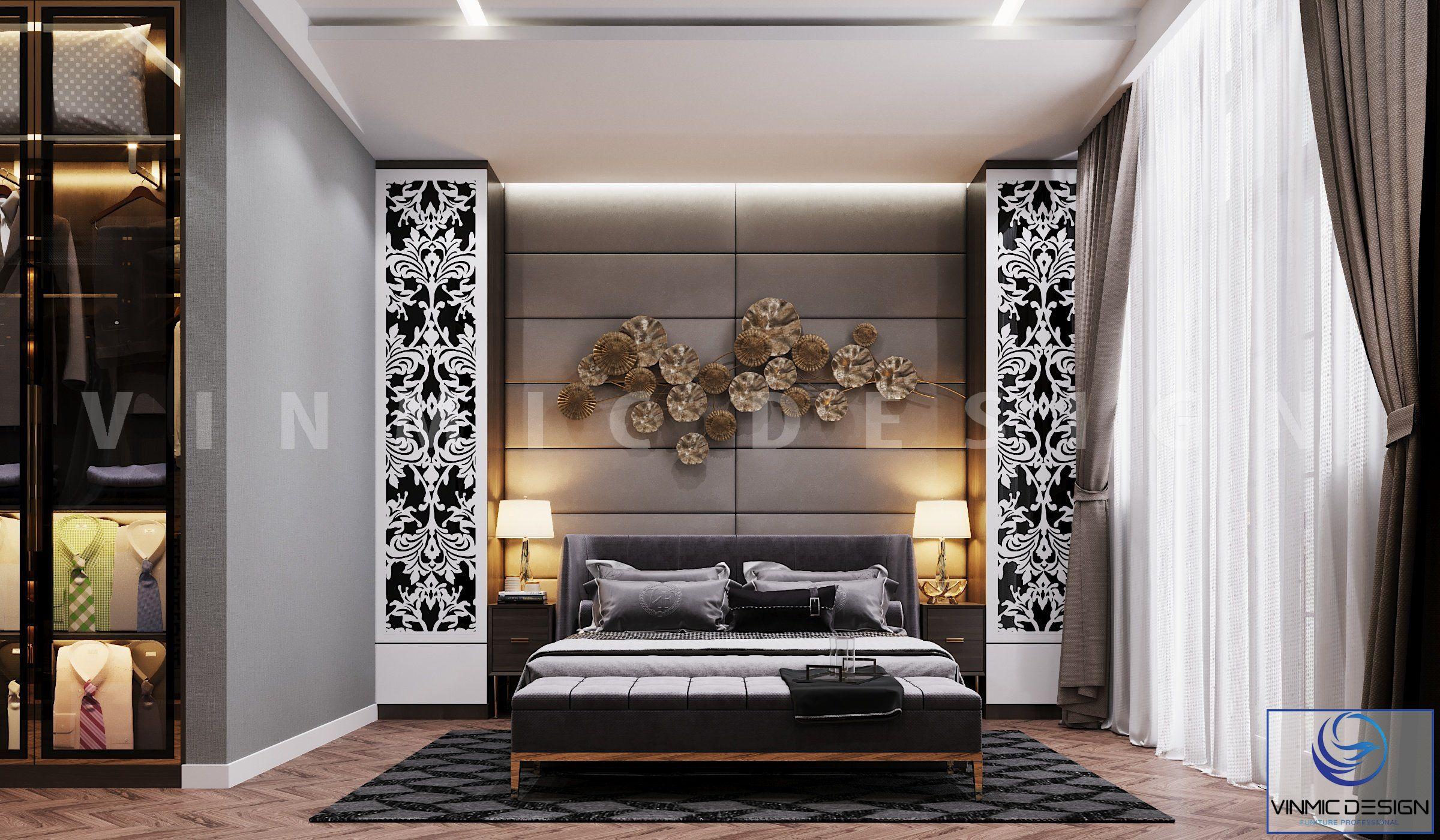 Thiết kế nội thất phòng ngủ sang trọng tại biệt thự Vinhomes Imperia Hải Phòng