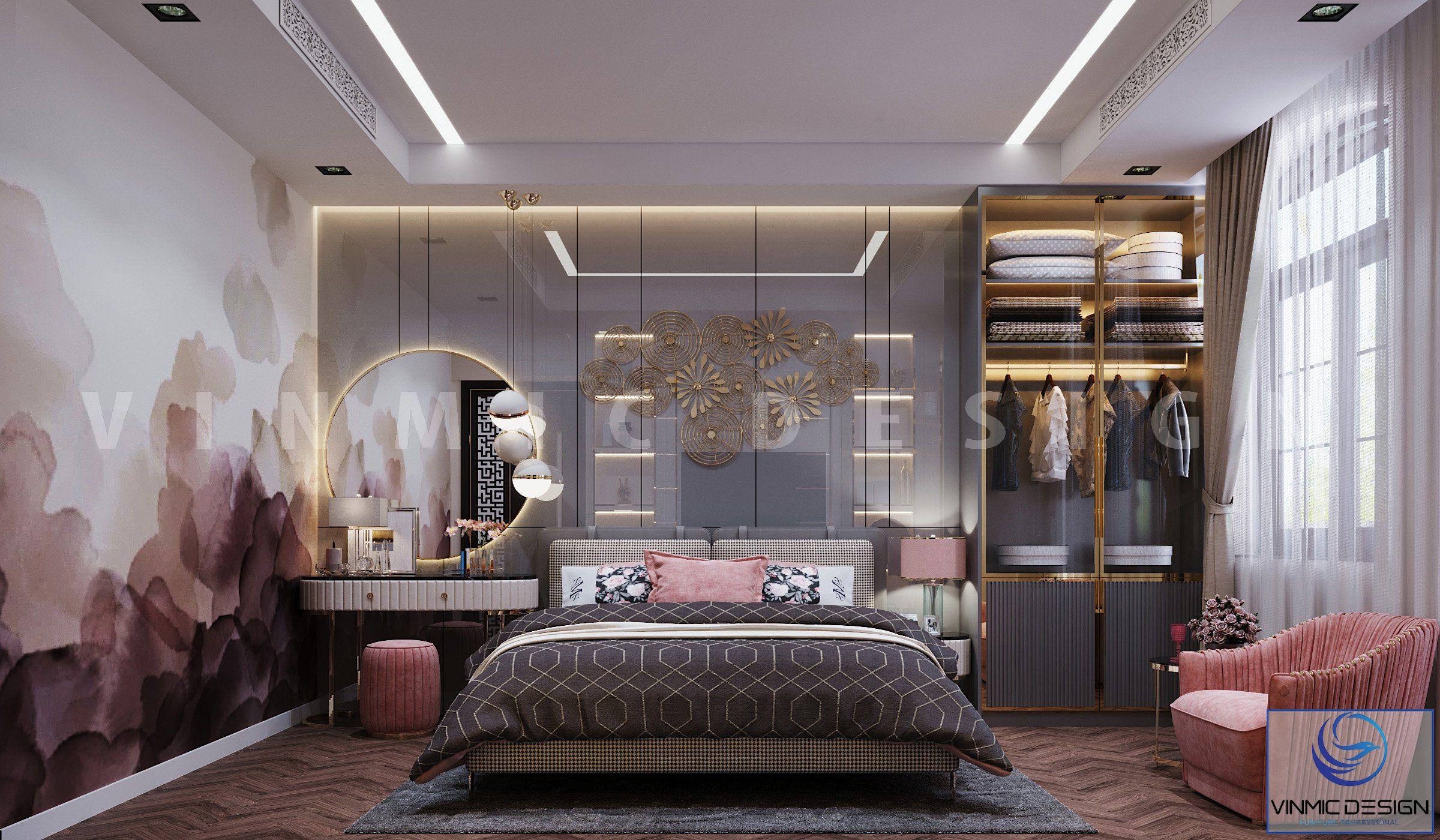 Thiết kế biệt thự đẹp với phòng ngủ bé gái hiện đại tại biệt thự Vinhomes Imperia Hải Phòng