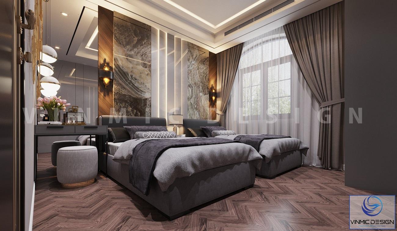 Nội thất phòng ngủ ông bà được thiết kế theo hướng sang trọng tại biệt thự Vinhomes Imperia Hải Phòng
