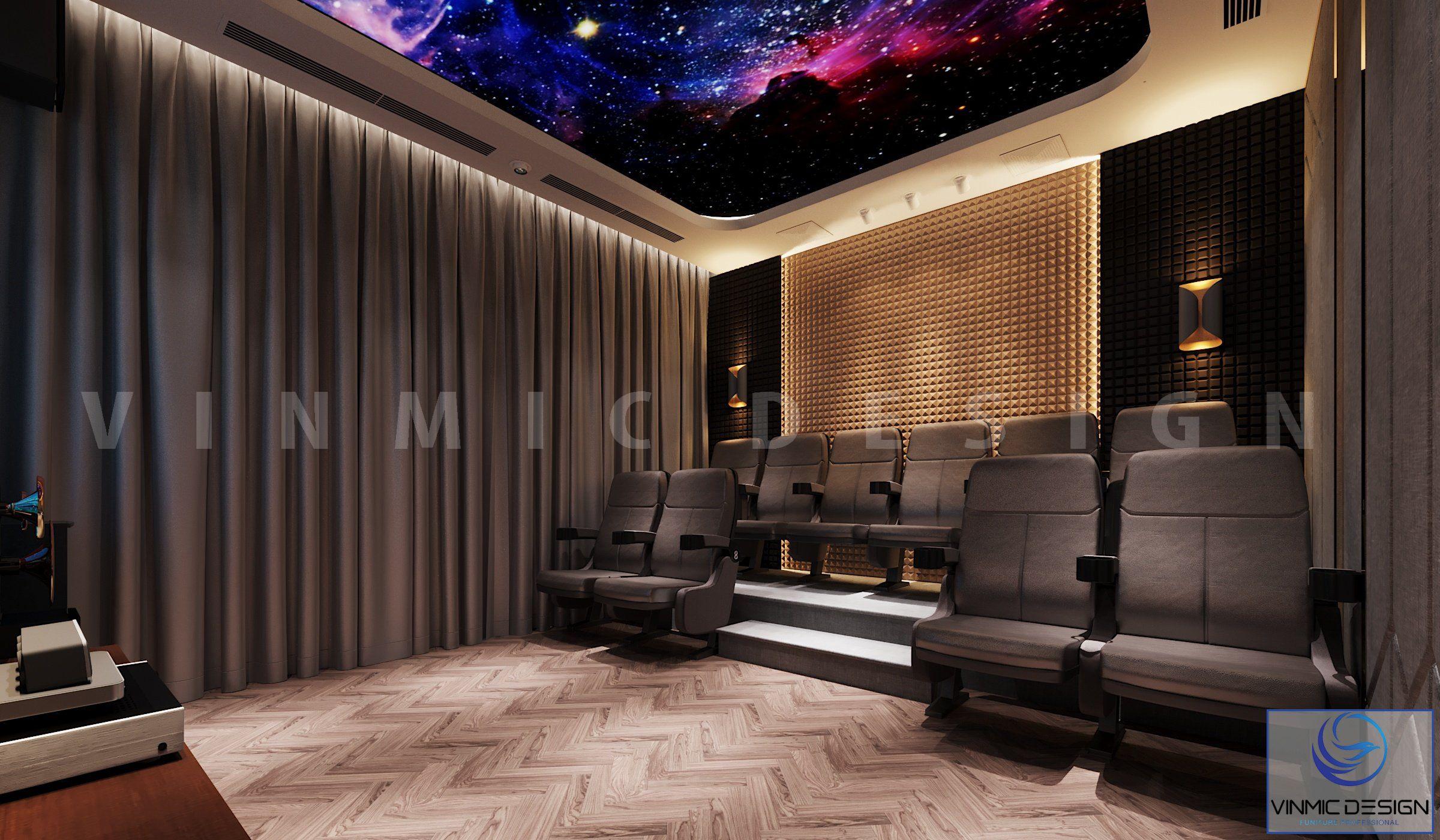 Thiết kế nội thất phòng chiếu phim ấn tượng tại biệt thự Vinhomes Imperia Hải Phòng
