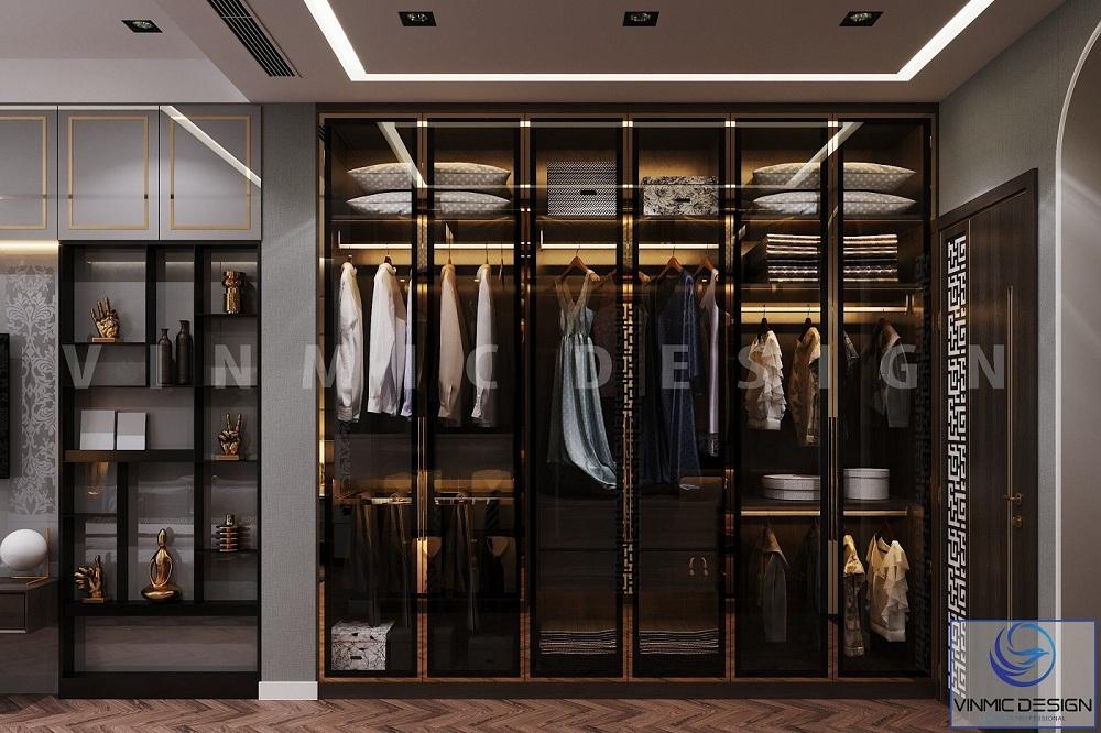 Thiết kế nội thất biệt thự Vinhomes Imperia Hải Phòng có tủ quần áo sang trọng trong phòng ngủ
