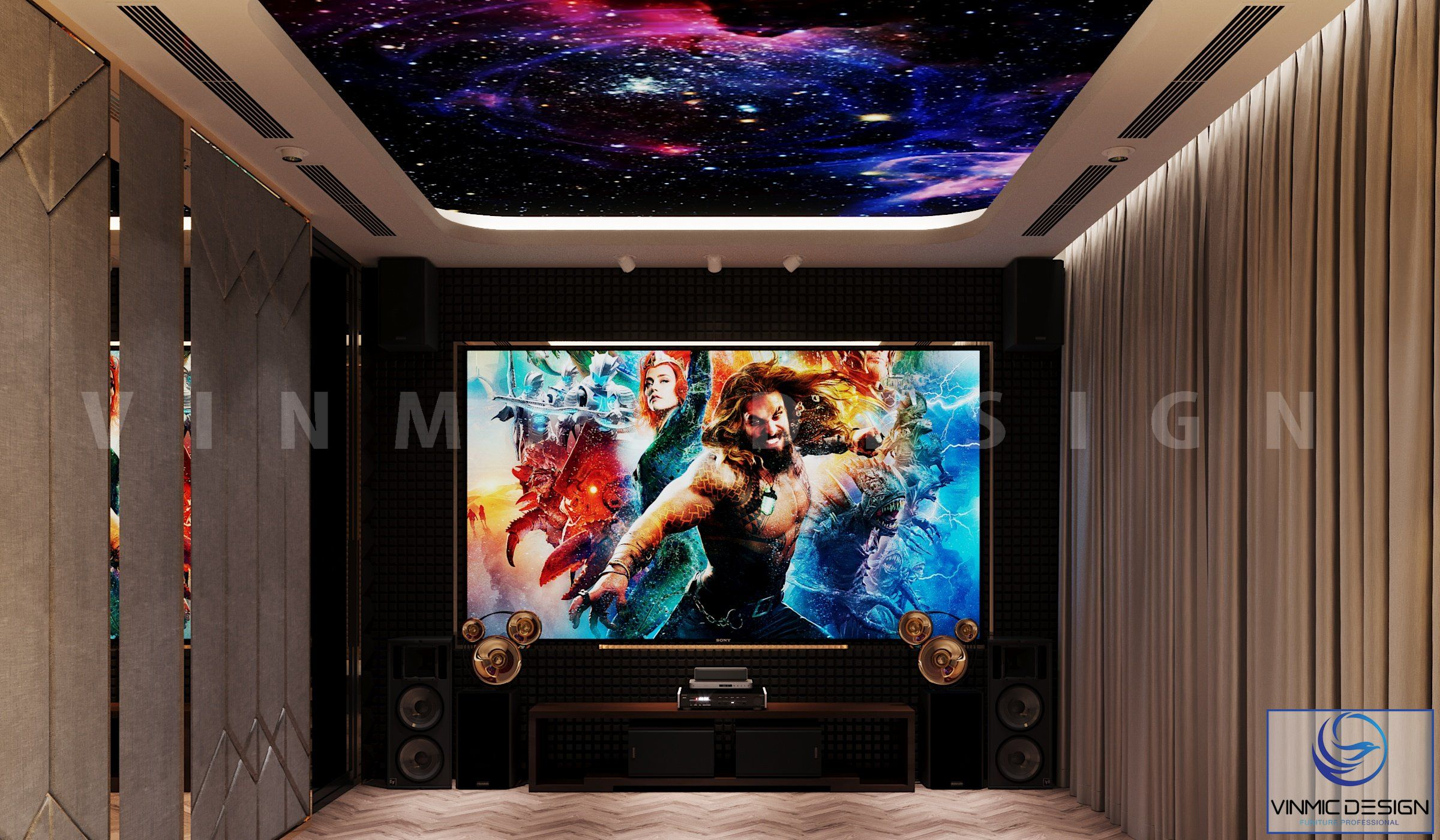 Thiết kế phòng chiếu phim với ốp tường cách âm và hệ thống âm thanh sống động tại biệt thự Vinhomes Imperia Hải Phòng