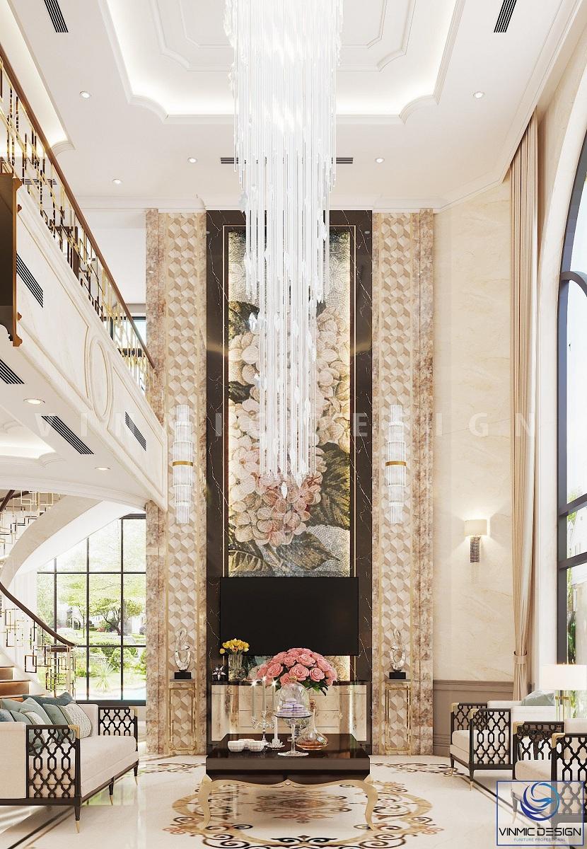 Thiết kế nội thất phòng khách phong cách Indochine kết hợp Luxury đẳng cấp, sang trọng tại biệt thự Vinhomes Imperia Hải Phòng