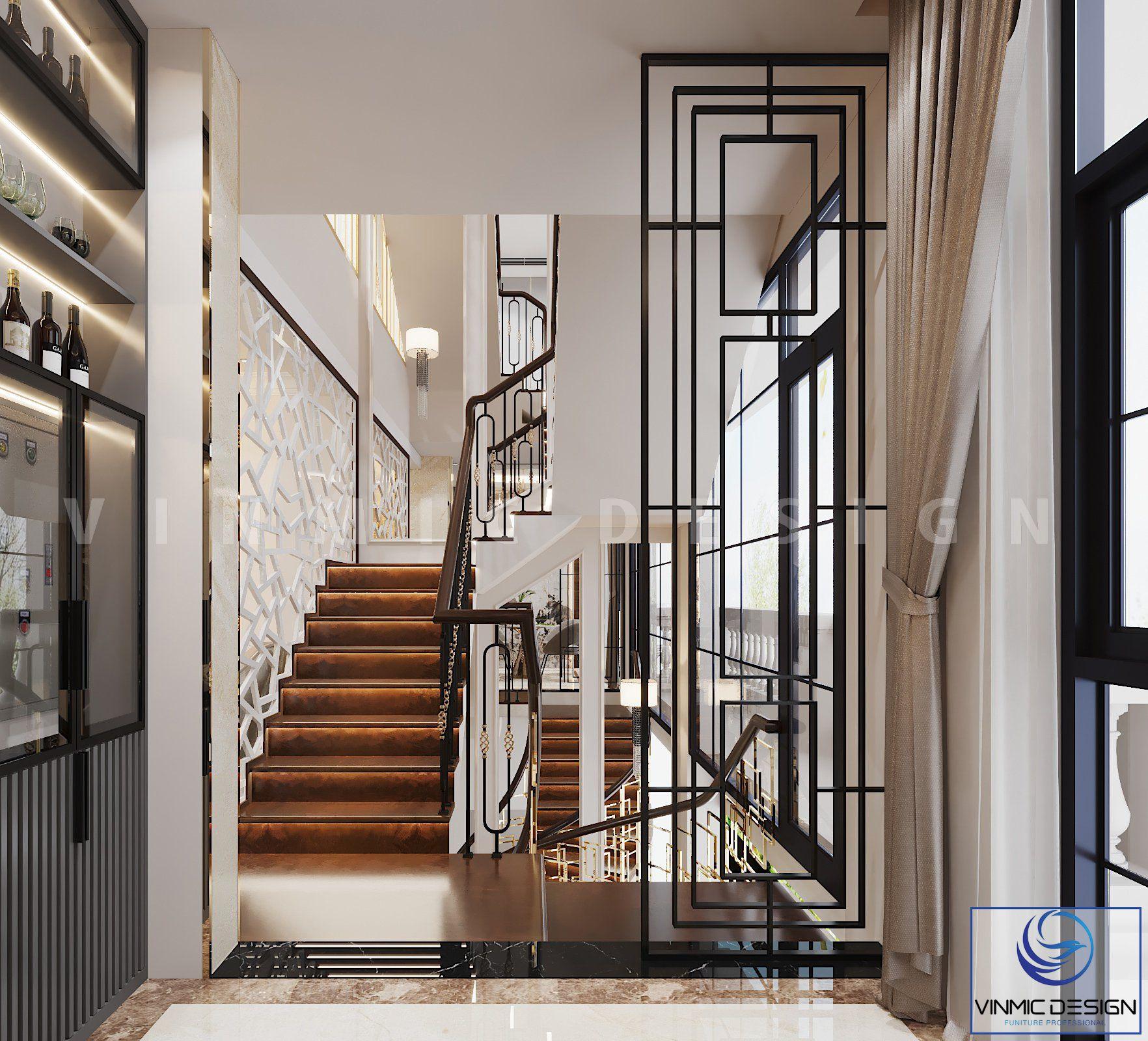 Thiết kế cầu thang đẹp tại biệt thự Vinhomes Imperia Hải Phòng