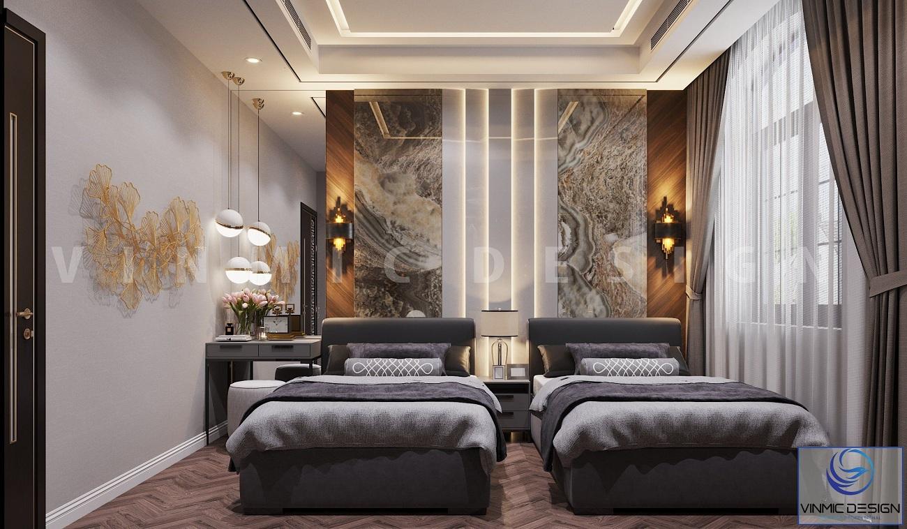Thiết kế nội thất phòng ngủ ông bà sang trọng tại biệt thự Vinhomes Imperia Hải Phòng