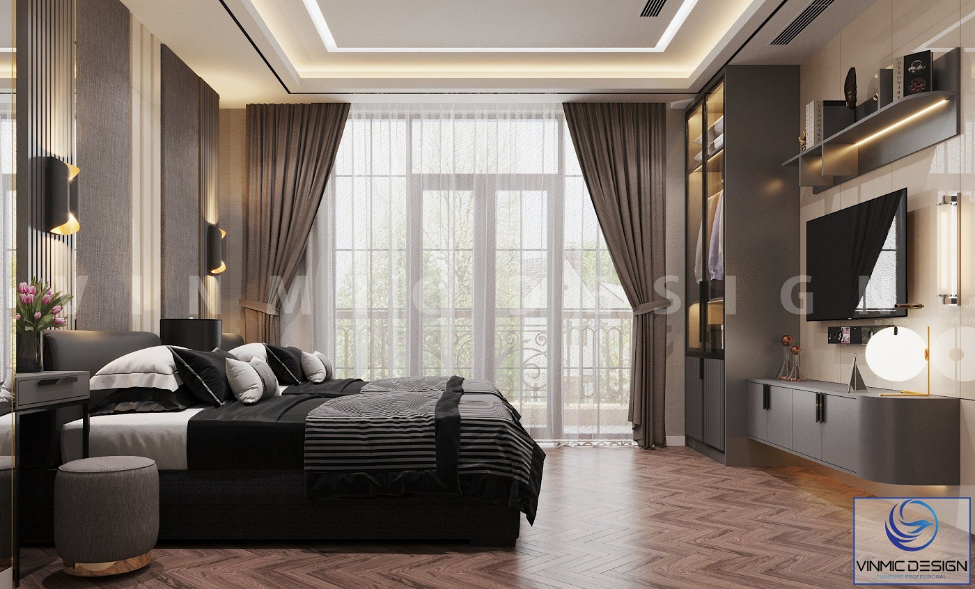 Thiết kế nội thất phòng ngủ cho khách với cửa sổ rộng thoáng tại biệt thự Vinhomes Imperia Hải Phòng