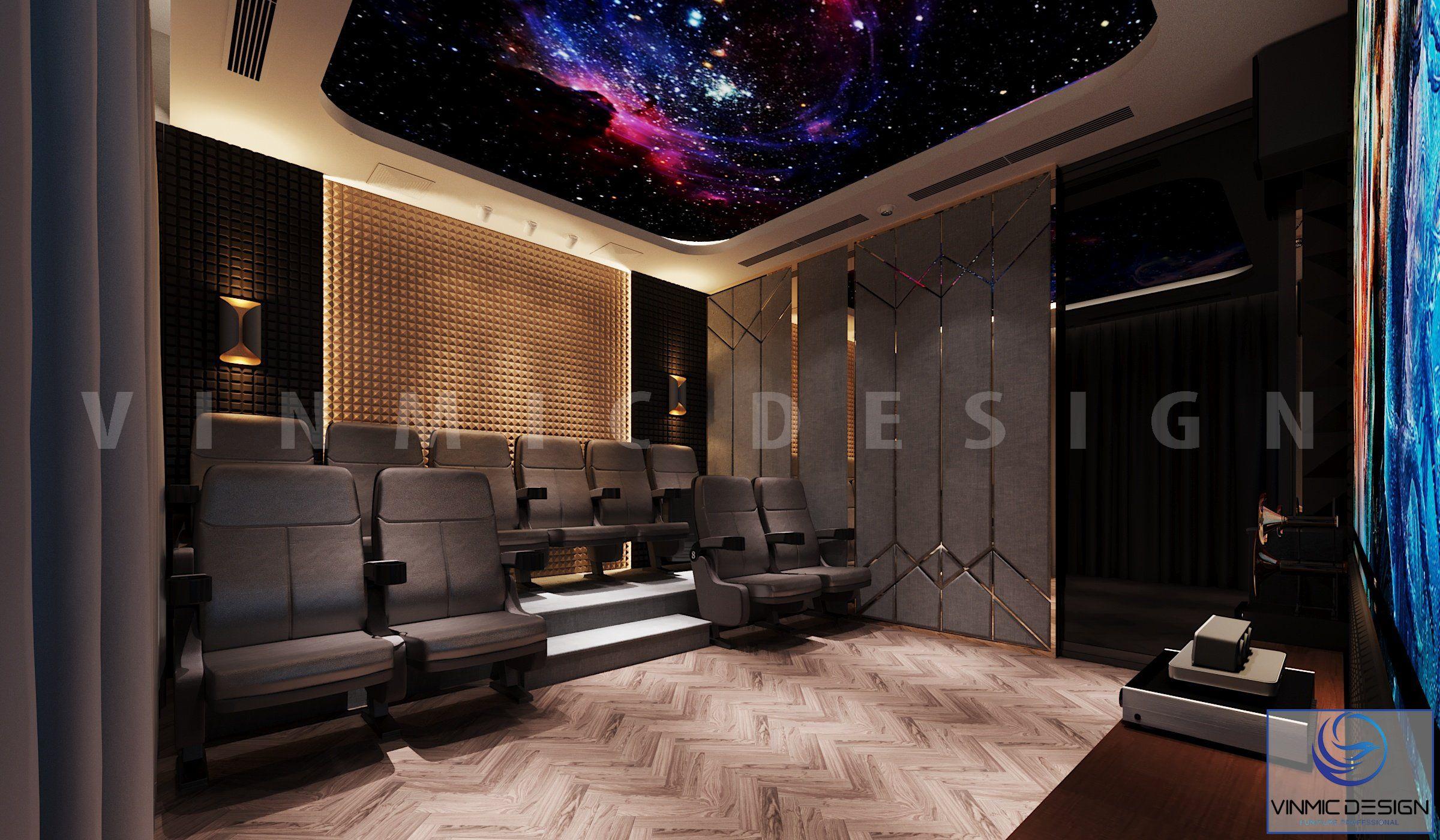 Thiết kế nội thất phòng chiếu phim mini đẹp tại biệt thự Vinhomes Imperia Hải Phòng