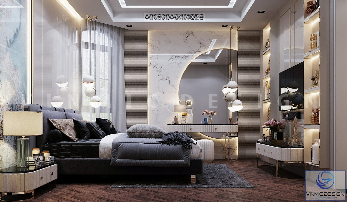 Thiết kế nội thất phòng ngủ master sang trọng tại biệt thự Vinhomes Imperia Hải Phòng