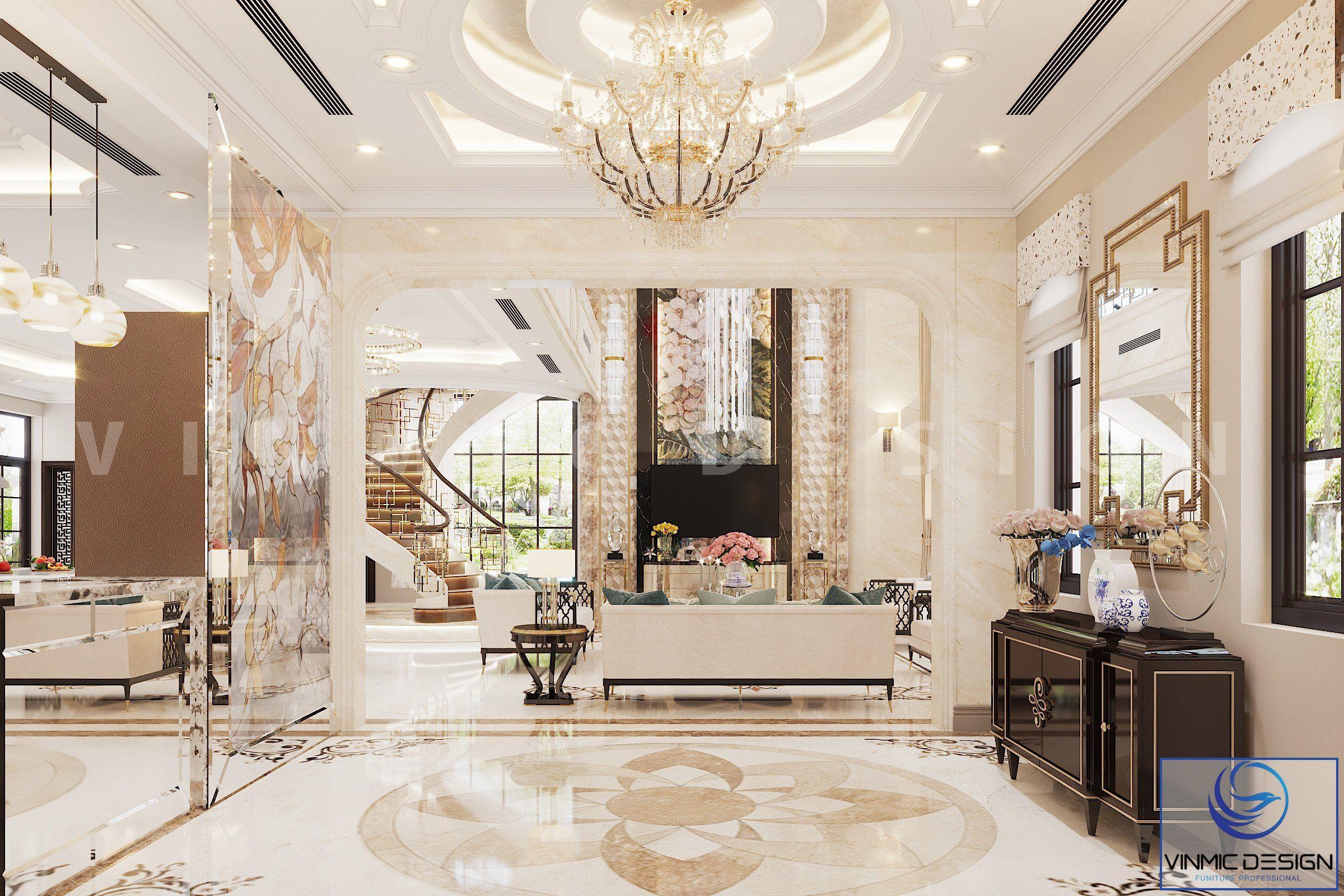 Không gian phòng khách biệt thự được làm nên từ phong cách indochine lộng lẫy
