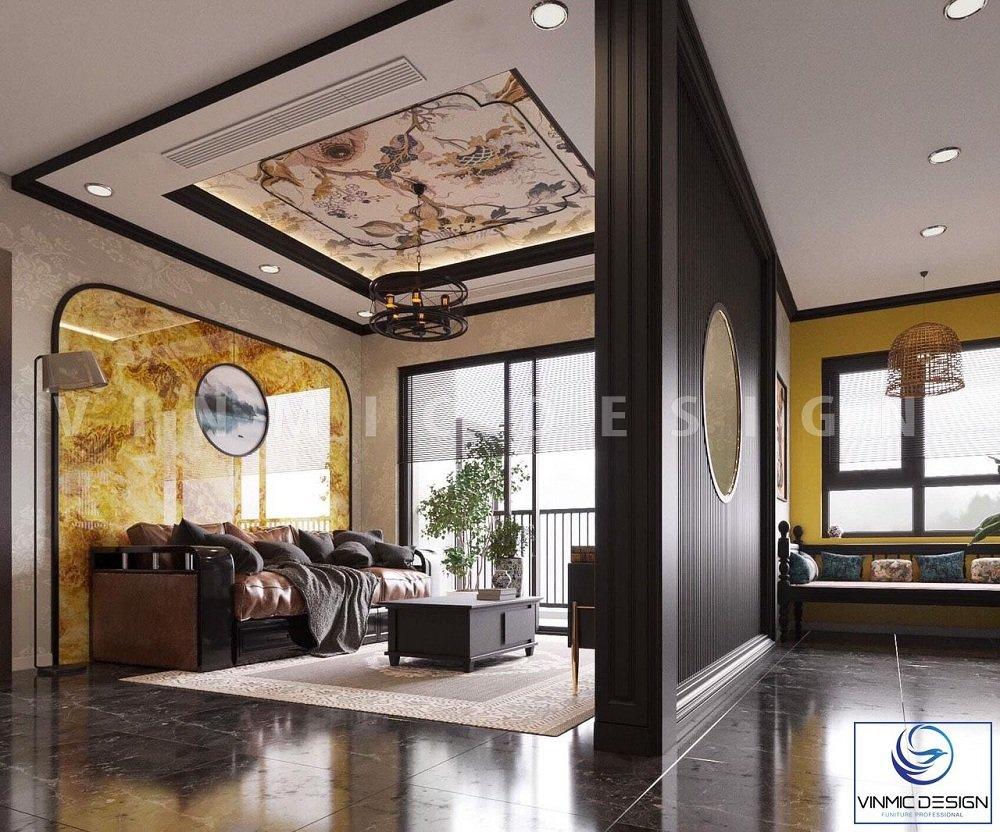 Thiết kế phòng khách phong cách indochine với các nan tre và ốp tường bằng đá nhân tạo