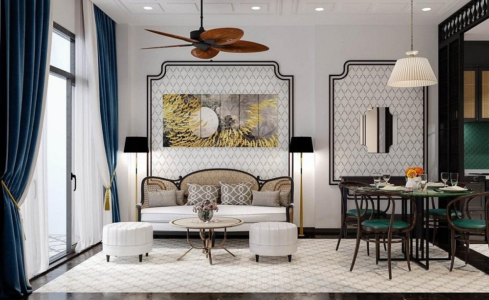 Thiết kế phòng khách indochine với tông màu sáng, tươi mới