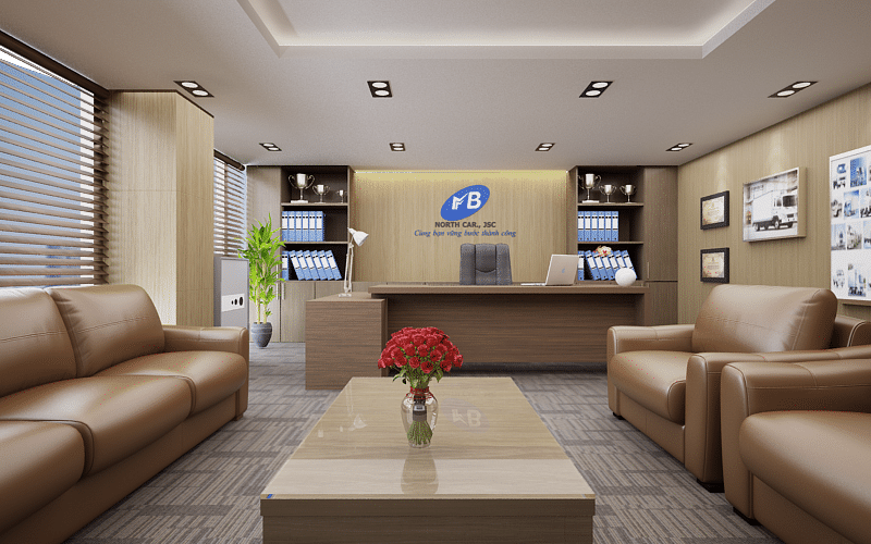 Bộ sofa nhập khẩu đặt ở trung tâm phòng giám đốc là điểm khác biệt rõ rệt
