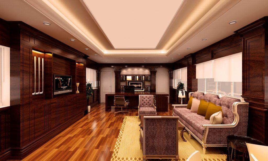 Những chi tiết gỗ tự nhiên và bộ sofa làm điểm nhấn