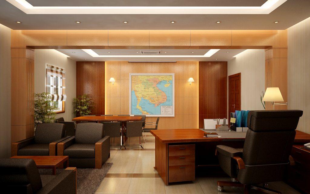 Không gian phòng giám đốc hiện đại với tông màu vàng ấm