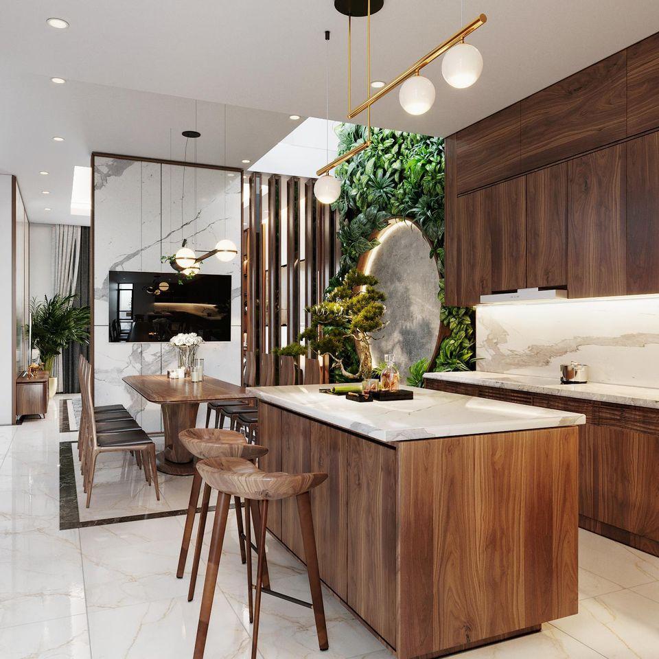 Bộ bàn đảo được thiết kế bố trí không gian phòng bếp tiện nghi