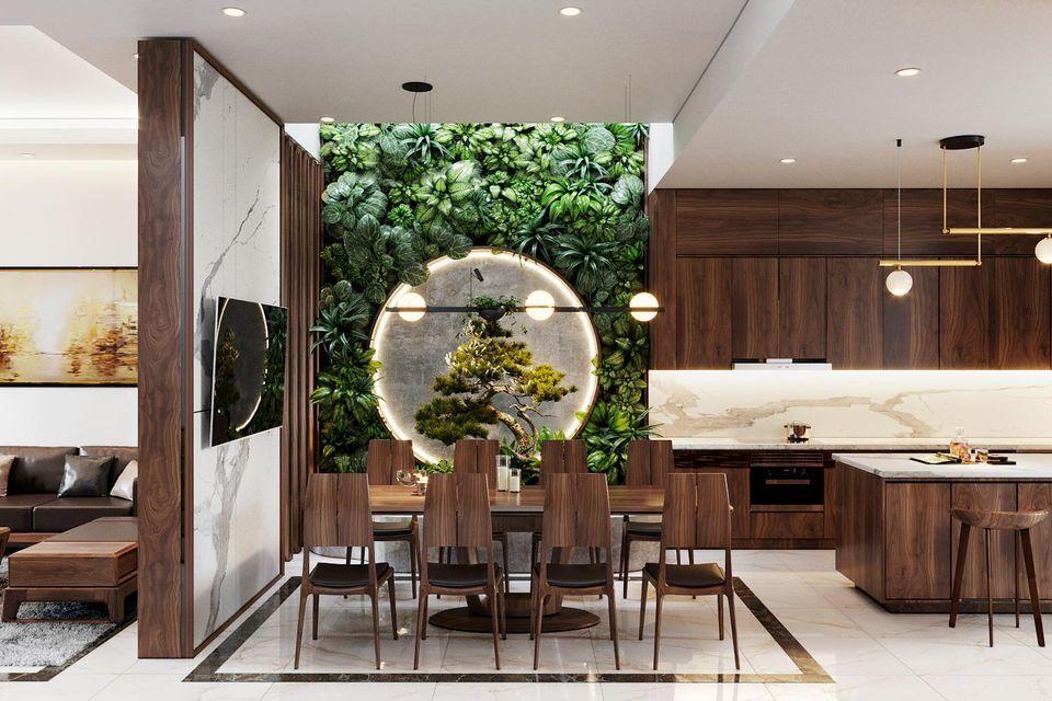 Thiết kế nội thất nhà phố với bộ bàn ăn tiện lợi