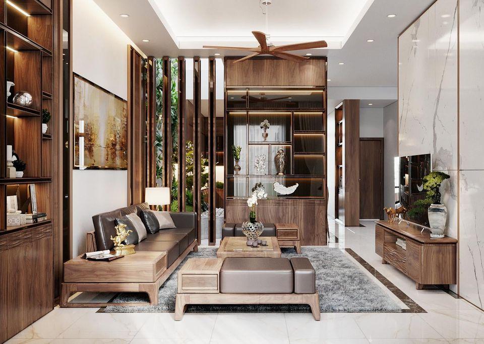 Thiết kế nội thất phòng khách với chất gỗ óc chó tự nhiên và bộ sô pha nổi bật