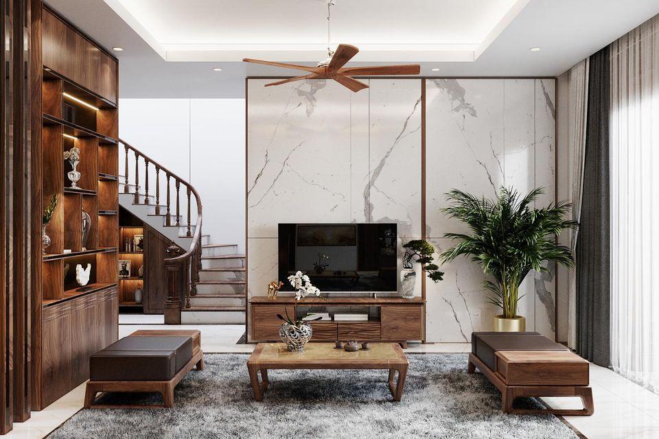 Thiết kế nội thất nhà phố với phòng khách đơn giản