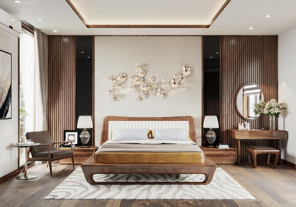 Thiết kế phòng ngủ rộng rãi, nổi bật với vách nan ốp tường gỗ tự nhiên