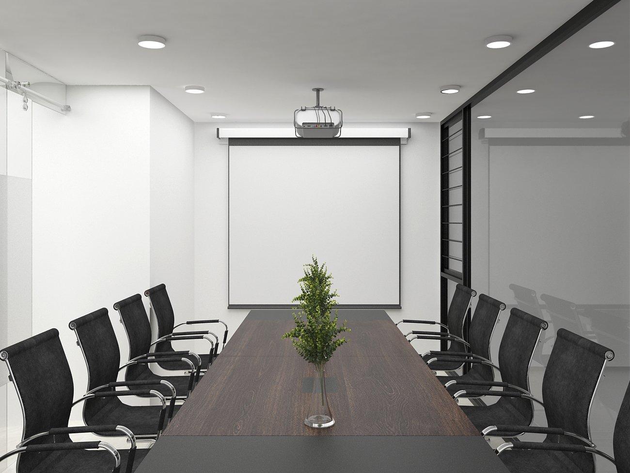 Phòng họp đơn giản, khi sử dụng bàn gỗ công nghiệp
