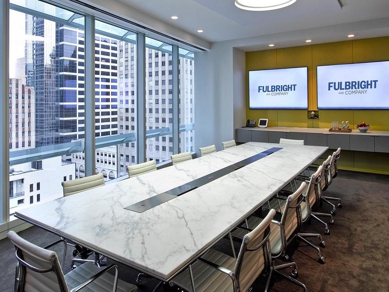 Thiết kế phòng họp với điểm nhấn bộ bàn đá nhân tạo